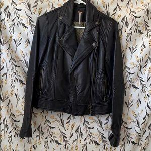 FreePeople Lamb, washed leather moto jacket